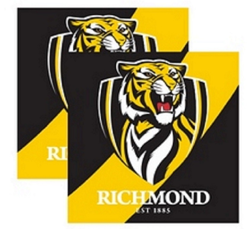 Richmond Tigers Official AFL Paper Serviettes Napkins 16 pack