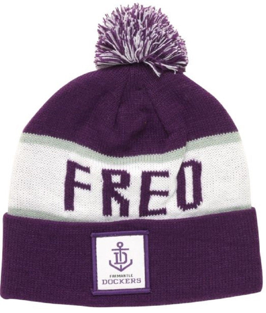 Fremantle Dockers Official AFL Traditional Bar Beanie with Pom Pom