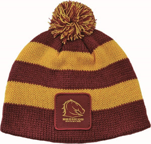 Brisbane Broncos Official NRL Chunky Knit Baby Infant Beanie