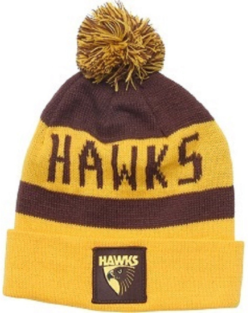 Hawthorn Hawks Official AFL Traditional Bar Beanie with Pom Pom