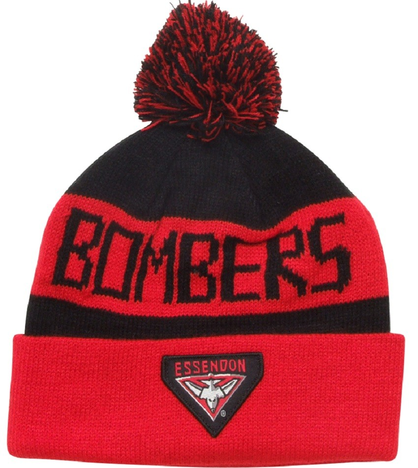 Essendon Bombers Official AFL Traditional Bar Beanie with Pom Pom