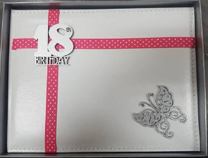 18th Birthday Guest Book WDG-2 White Leather 36 page Butterfly