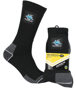 Cronulla Sharks Official NRL Tradesmens Work Socks - 2 pairs