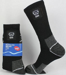 Geelong Cats Official AFL Tradesmens Work Socks - 2 pair