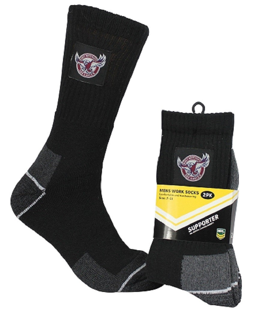 Manly Warringah Sea Eagles Official NRL Tradesmens Work Socks - 2 pairs