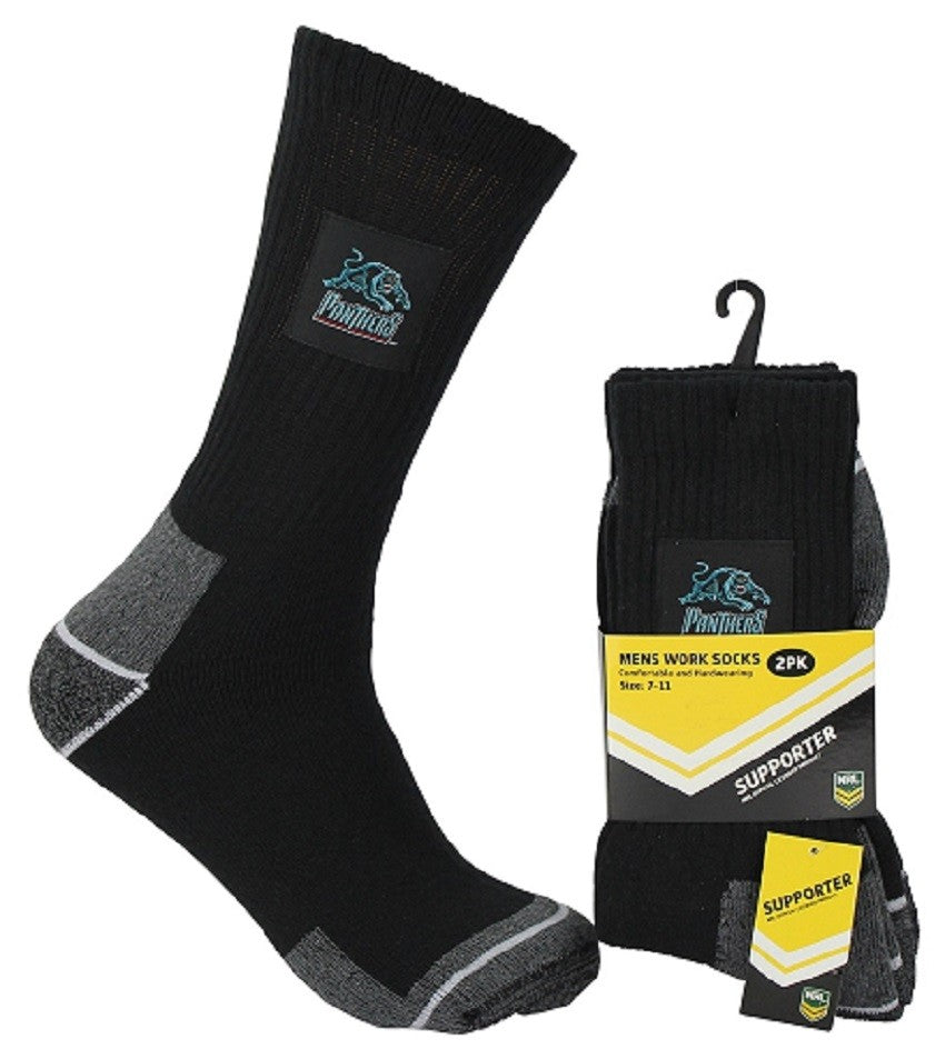 Penrith Panthers Official NRL Tradesmens Work Socks - 2 pairs