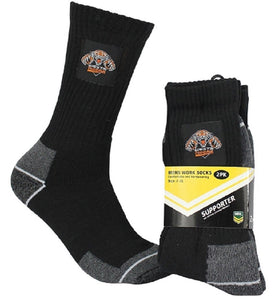 Wests Tigers Official NRL Tradesmens Work Socks - 2 pairs