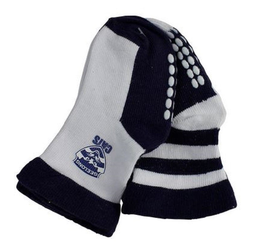 Geelong Cats Official AFL Baby Infant Non-Slip Socks 2 pack