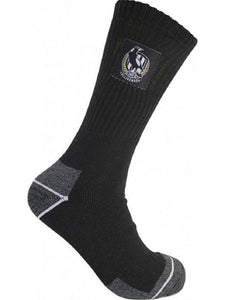 Collingwood Magpies Official AFL Tradesmens Work Socks - 2 pack