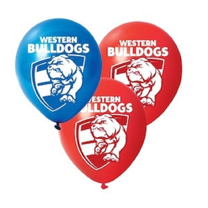 Western Bulldogs Official AFL x 6 Balloons Double Sided Print