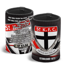Load image into Gallery viewer, St Kilda Saints Official AFL Team History Can Cooler Stubby Holder