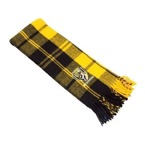 Richmond Tigers Official AFL Tartan Embroidered Logo Scarf
