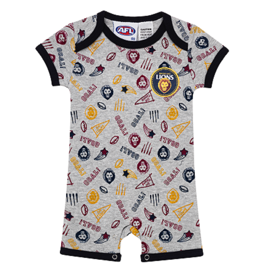 Brisbane Lions Baby Infant Summer Romper Jumpsuit Official AFL