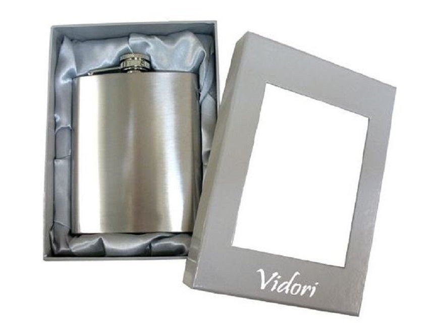 Vidori Stainless Steel Satin Finish Hip Flask 8 oz 425ml Birthday Deb Gift Boxed