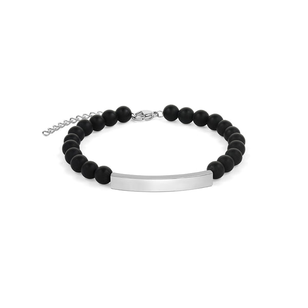 Black Agate Bracelet in Silver
