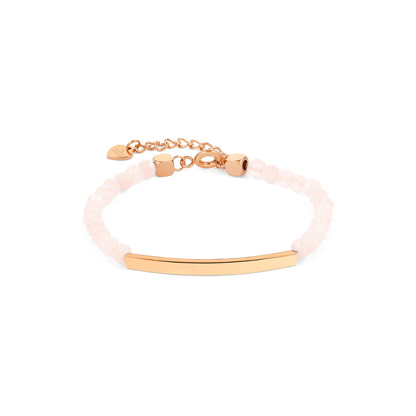 Rose Quartz Bracelet in Rose Gold