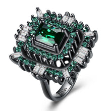 Load image into Gallery viewer, 18K Black Plated Double Teired Cocktail Ring With