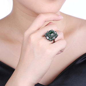 18K Black Plated Double Teired Cocktail Ring With