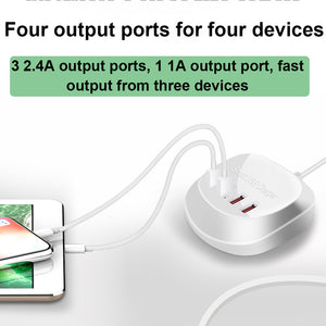 USB Phone Charger Pad 4 Port 2.5A USB Fast Charger