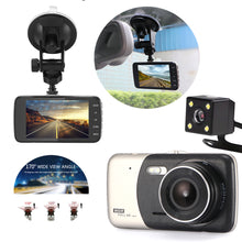 "Load image into Gallery viewer, 4"" Dual Lens 1080P FHD 1.0MP Dash Camera Car DVR"