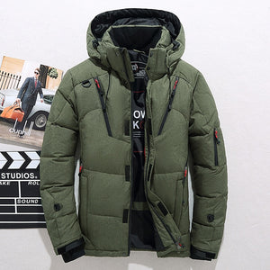 Men Down High Quality Thick Warm Winter Jacket Hooded Thicken Duck Down Parka Coat Casual Slim Overcoat With Many Pockets Mens