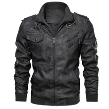 Load image into Gallery viewer, Men's Leather Jacket Casual Motorcycle Removable Hood Pu Leather Jacket 2020 New Male Oblique Zipper European size jaqueta couro