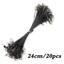 Load image into Gallery viewer, 20PCS Anti Bite Steel Fishing Line Steel Wire Leader With Swivel Fishing Accessory Lead Core Leash Fishing Wire 15CM-50CM