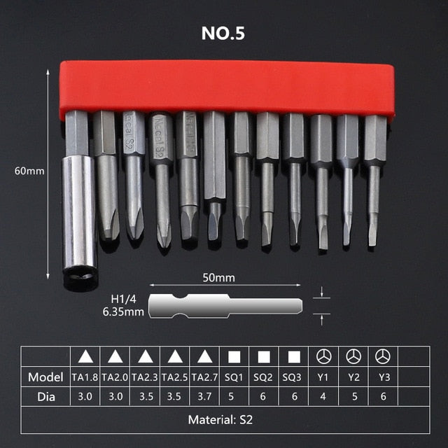 12Pcs Set Security Tamper Proof Magnetic Screwdriver Drill Bit Screw Driver Bits Hex Torx Flat Head 1/4