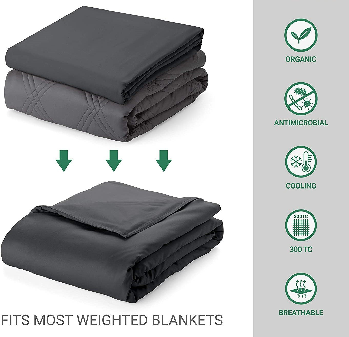NEW ! 100% Bamboo - Cooling Weighted Blanket Duvet Cover - BETTER SLEEP - Canada's Premium Weighted Blanket