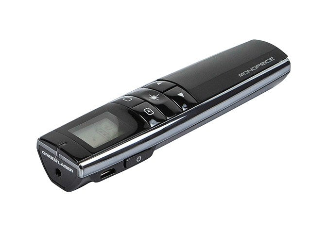 Monoprice - Rechargeable Multimedia Green Laser Presenter with LCD Display 2.4GHz - Black