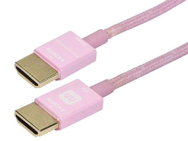 Monoprice - 15ft 18Gbps Ultra Slim Series High Performance HDMI® Cable w/ RedMere® Technology - Pink