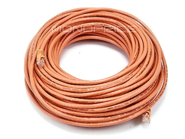 Monoprice 100FT 24AWG Cat5e 350MHz UTP Bare Copper Ethernet Network Cable - Orange