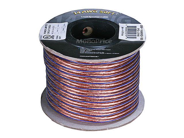Monoprice Choice™ Series 14AWG Oxygen-Free Pure Bare Copper Speaker Wire, 50ft