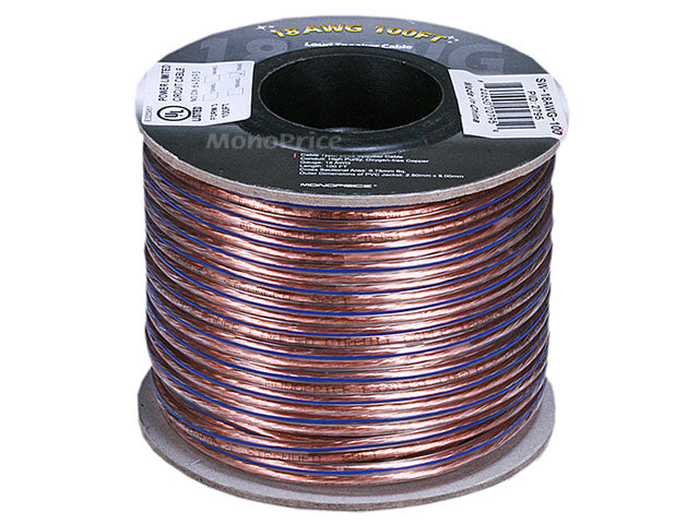 Monoprice Choice Series 18AWG Oxygen-Free Pure Bare Copper Speaker Wire, 100ft
