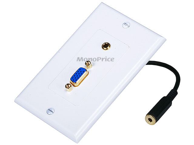 Monoprice VGA / 3.5mm Stereo Audio Wall Plate (Gold Plated)