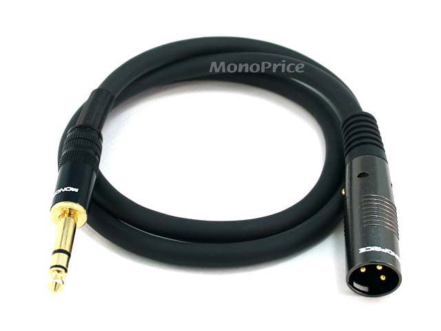 Monoprice 3ft Premier Series XLR Male to 1/4inch TRS Male 16AWG Cable (Gold Plated)