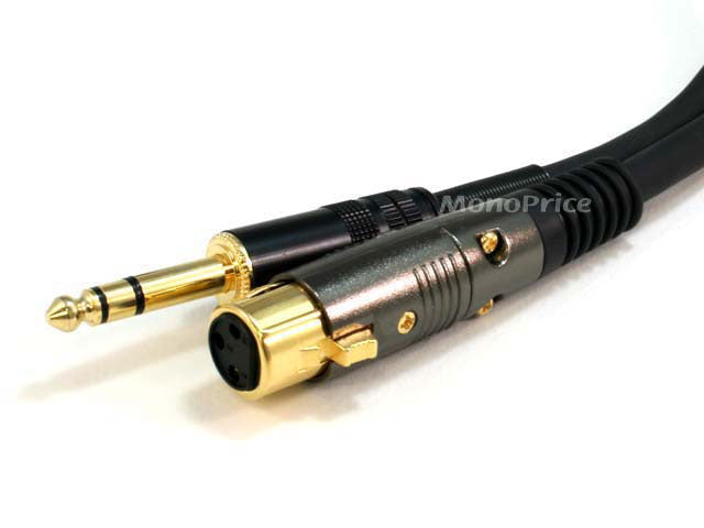 Monoprice 25ft Premier Series XLR Female to 1/4inch TRS Male 16AWG Cable (Gold Plated)