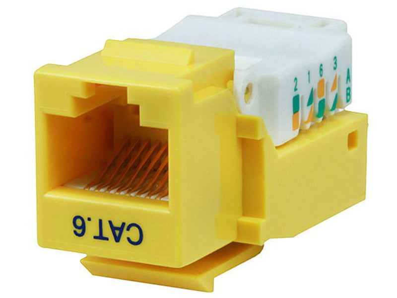 Monoprice - Cat6 RJ-45 Toolless Keystone - Yellow