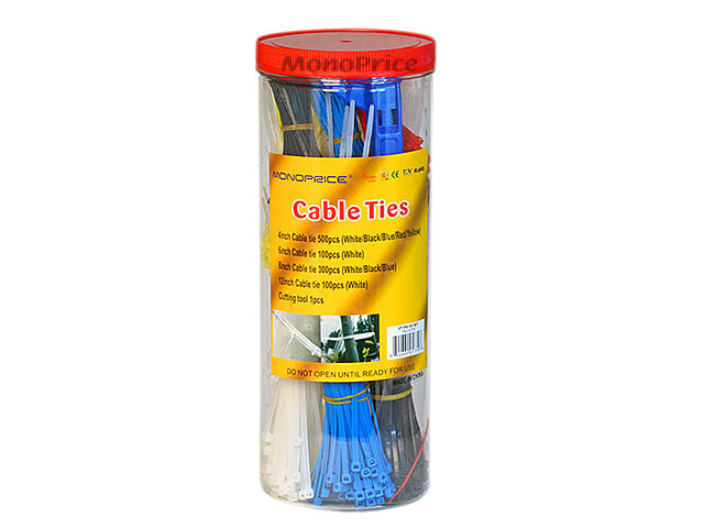 Monoprice Cable Tie Set, 1000pcs/Pack - Various Color with Cutting Tool