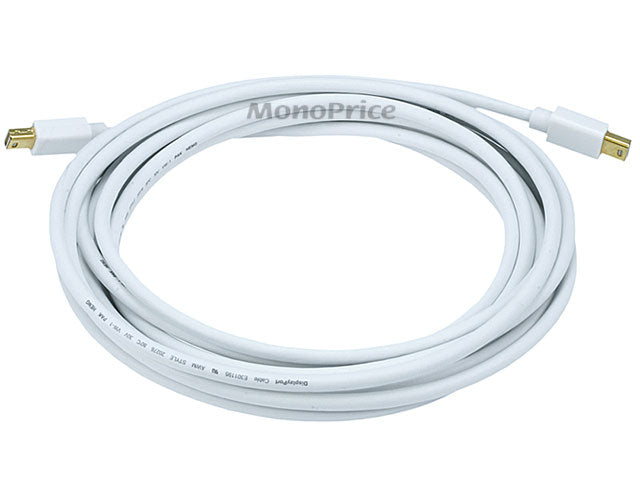 Monoprice 15ft 32AWG Mini DisplayPort Cable - White