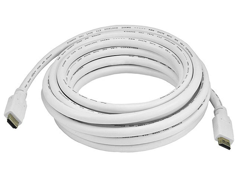 Monoprice - 20ft 24AWG CL2 Standard HDMI® Cable With Ethernet - White