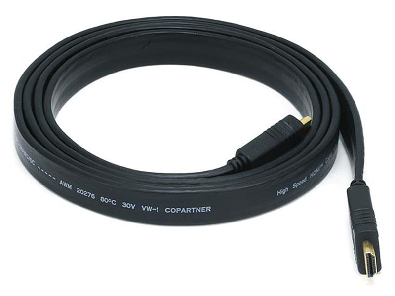 Monoprice - 6ft 24AWG CL2 Flat High Speed HDMI® Cable With Ethernet - Black