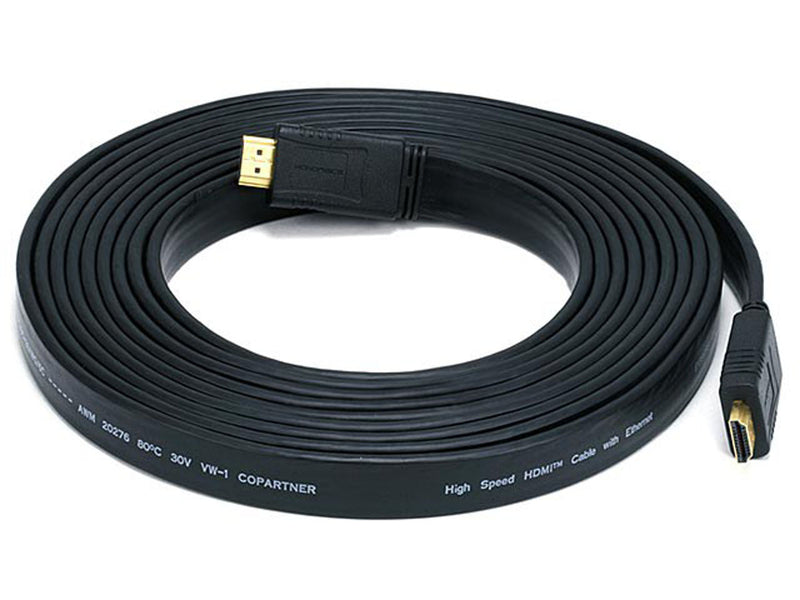 Monoprice - 15ft 24AWG CL2 Flat High Speed HDMI® Cable With Ethernet - Black
