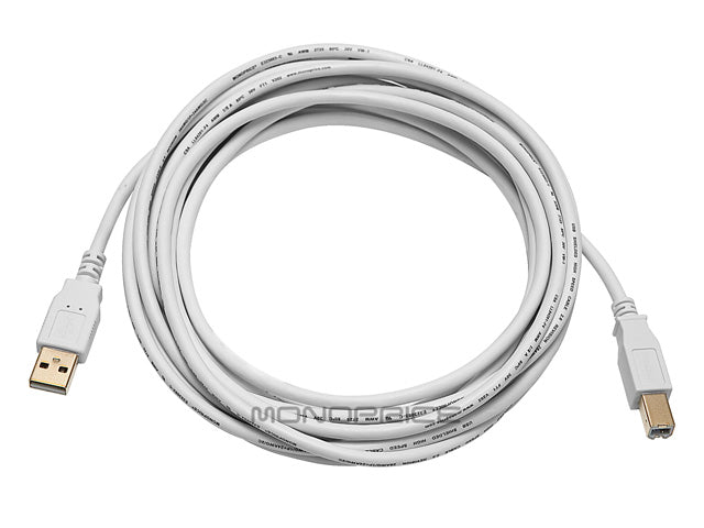 Monoprice 10ft USB 2.0 A Male to B Male 28/24AWG Cable (Gold Plated) - WHITE
