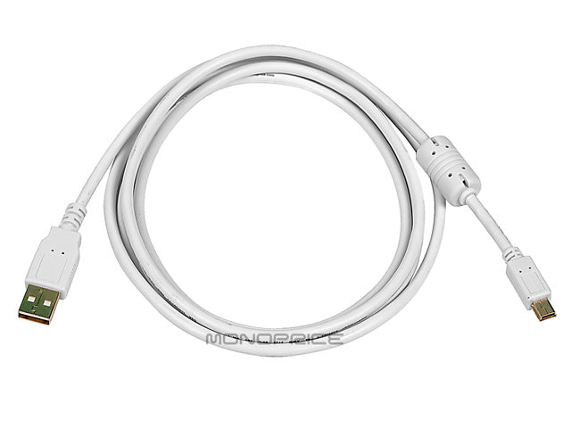 Monoprice 6ft USB 2.0 A Male to Mini-B 5pin Male 28/24AWG Cable w/ Ferrite Core (Gold Plated) - WHITE