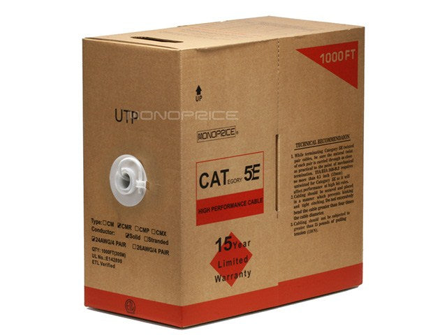 Monoprice - 1000FT 24AWG Cat5e 350MHz UTP Solid, Riser Rated (CMR), Bulk Ethernet Bare Copper Cable - White
