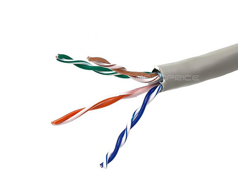 Monoprice - 1000FT 24AWG Cat5e 350MHz STP Solid, In-Wall Rated (CM), Bulk Ethernet Bare Copper Cable - Gray