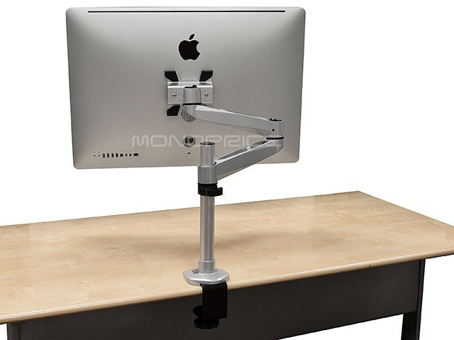 Monoprice Aluminum Full Motion Desk Mount for Apple Displays (Max 33Lbs) - Silver