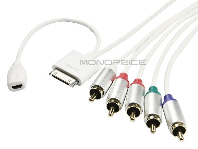 Monoprice 4ft Component AV Cable for Apple all 30-pin iPhone, iPad, and iPod