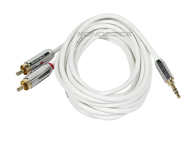 Monoprice 10ft Designed for Mobile 3.5mm Stereo Male to RCA Stereo Male (Gold Plated) - White
